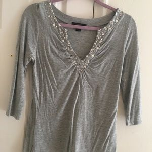 Express gray top with sequins medium
